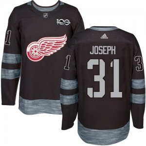Detroit Red Wings Curtis Joseph Official Black Adidas Authentic Adult 1917-2017 100th Anniversary NHL Hockey Jersey